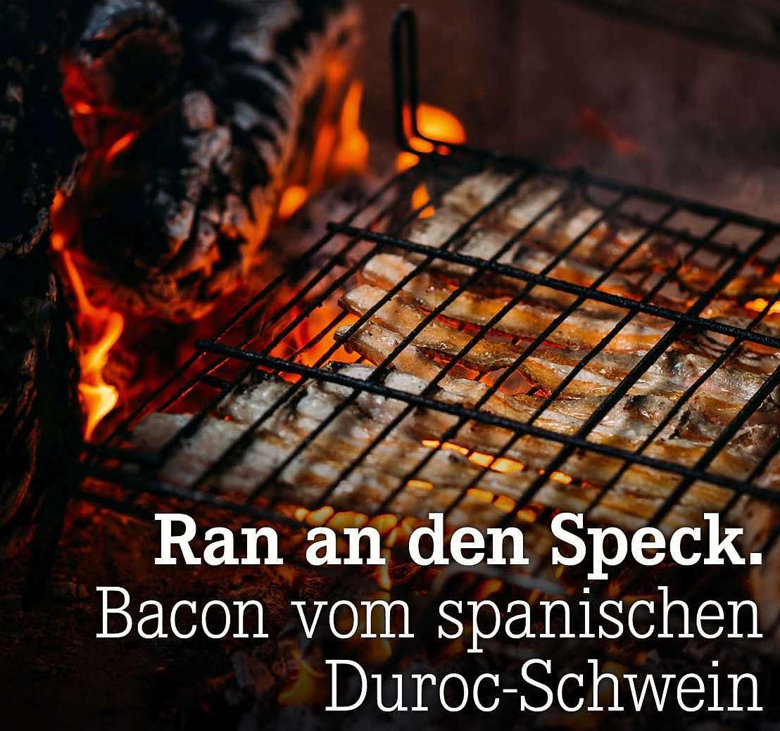 Ran an den Speck. Bacon vom spanischen Duroc-Schwein