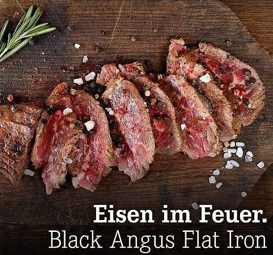 Eisen im Feuer. Black Angus Flat Iron