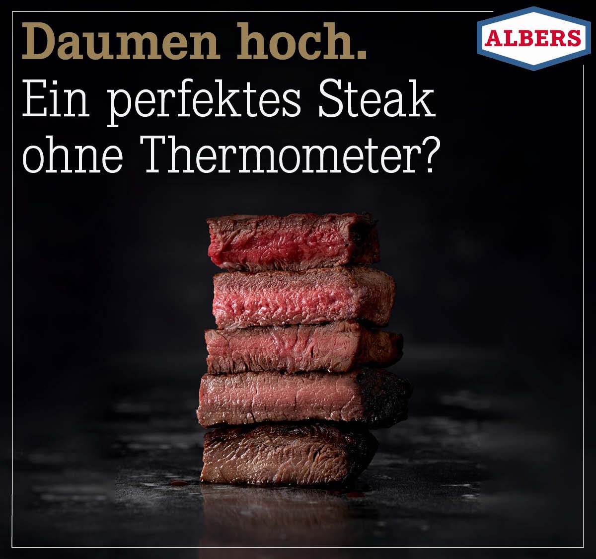 Daumen hoch. Ein perfektes Steak ohne Thermometer?